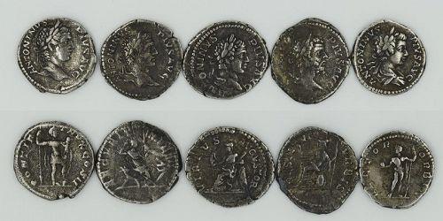 FIVE ROMAN DENARII OF CARACALLA