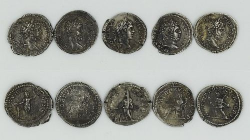FIVE ROMAN DENARII OF SEPTIMIUS SEVERUS AND CARACALLA