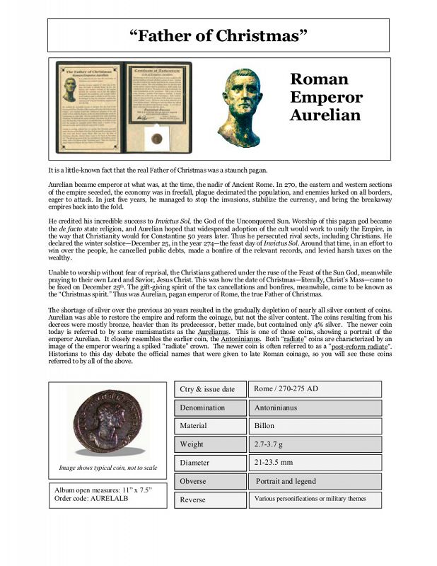 THE FATHER OF CHRISTMAS: ROMAN EMPEROR AURELIAN ALBUM