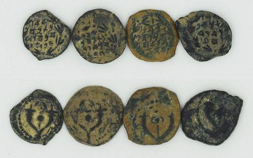FOUR HASMONEAN PRUTOT OF ALEXANDER JANNAEUS