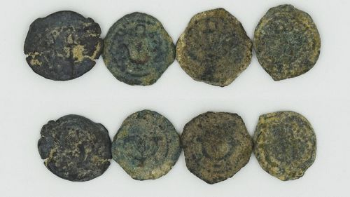 FOUR BRONZE PRUTOT OF HEROD THE GREAT