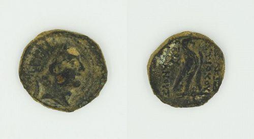 A SELEUCID BRONZE COIN OF ANTIOCHUS IV EPIPHANES
