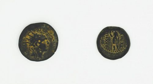 A BRONZE COIN OF ANTIOCHUS IV EPIPHANES WITH ARTEMIS