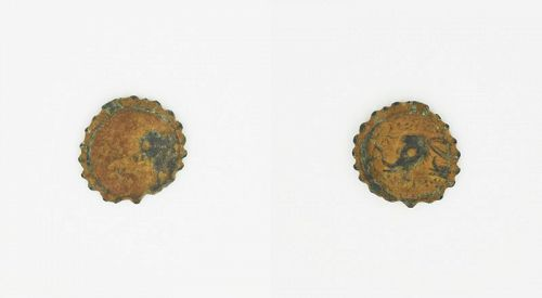 A SERRATE BRONZE COIN OF ANTIOCHUS IV EPIPHANES WITH ELEPHANT
