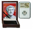 ANTONINUS PIUS ROMAN DENARIUS IN NGC CERTIFIED SLAB BOX (HIGH GRADE)