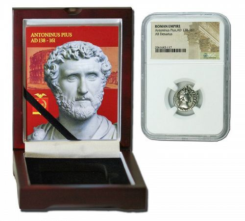 ANTONINUS PIUS ROMAN DENARIUS IN NGC CERTIFIED SLAB BOX (MEDIUM GRADE)