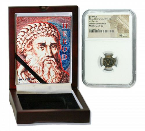 HEROD I: JUDAEA BRONZE PRUTAH NGC CERTIFIED BOX (HIGH GRADE)