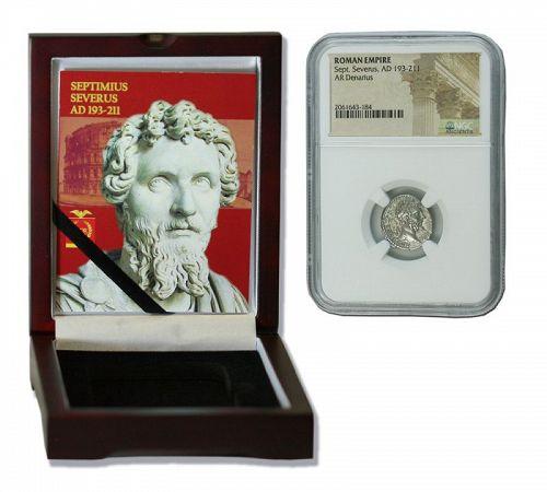SEPTIMIUS SEVERUS ROMAN SILVER DENARIUS NGC CERTIFIED BOX (HIGH GRADE)