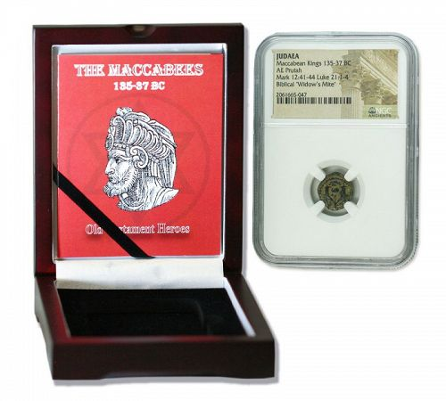 A NGC MACCABEAN BRONZE PRUTAH IN DISPLAY BOX (HIGH GRADE)