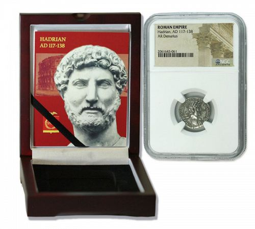 A DENARIUS OF HADRIAN ENCAPSULATED IN DISPLAY BOX (HIGH GRADE)