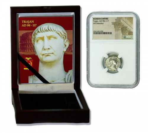 A DENARIUS OF TRAJAN ENCAPSULATED IN DISPLAY BOX (HIGH GRADE)