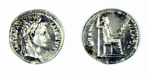 A ROMAN TRIBUTE PENNY (DENARIUS) OF TIBERIUS