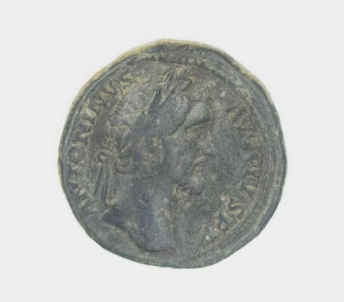 A ROMAN BRONZE COIN OF ANTONINUS PIUS