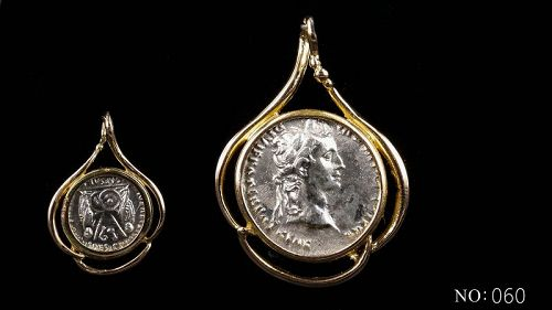 A ROMAN SILVER DENARIUS OF AUGUSTUS IN 14K GOLD TREFOIL PENDANT
