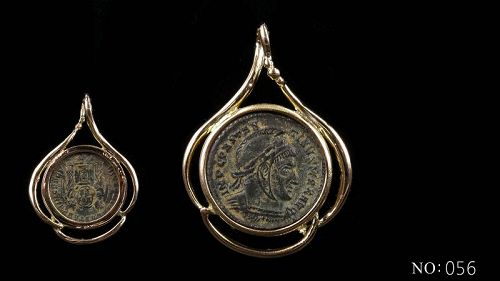 A ROMAN FOLLIS OF CONSTANTINE THE GREAT IN 14K GOLD TREFOIL PENDANT