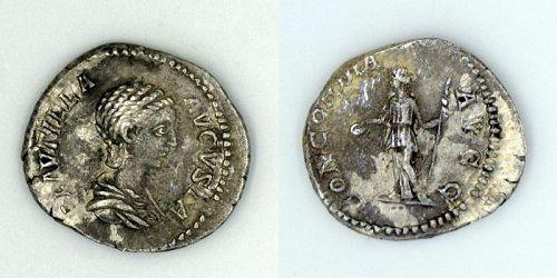 A ROMAN SILVER DENARIUS OF PLAUTILLA