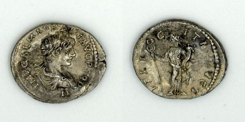 A ROMAN SILVER DENARIUS OF CARACALLA