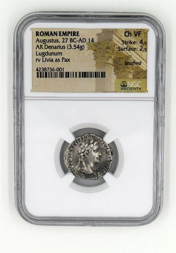 A DENARIUS OF AUGUSTUS WITH LIVIA ENCAPSULATED BY NGC
