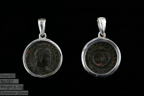 BRONZE COIN OF CONSTANTINE I THE GREAT , HAND MADE SILVER PENDANT