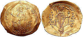 A BYZANTINE GOLD COIN WITH CHRIST ENTHRONED