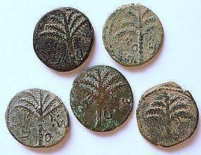 A JEWISH BRONZE COIN OF SHIMON BAR-KOCHBA