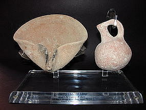 A TERRACOTTA OIL LAMP AND JUGLET FROM THE HOLY LAND