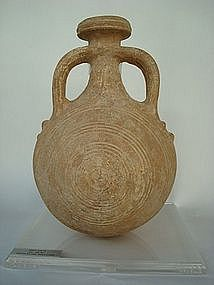 A HOLY LAND TERRACOTTA PILGRIM FLASK
