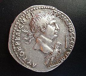 A SILVER TETRADRACHM OF EMPEROR TRAJAN