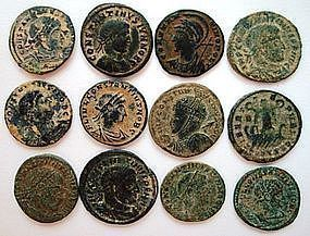 12 ROMAN BRONZE COINS OF EMPEROR CONSTANTINE THE GREAT