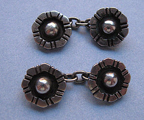 Pair Sterling Rosette Cuff Links