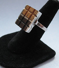 Modernist Sterling and Wood Ring