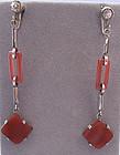 Art Deco Carnelian Pendant Earrings, c. 1925