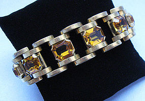 French Costume Bracelet with Faux Citrines, c. 1935