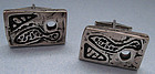 Pair Modernist Sterling Cuff Links, c. 1955