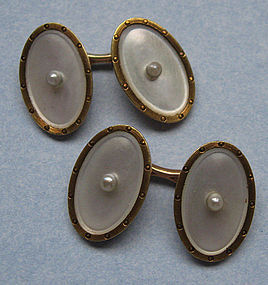 American Gold and Mother-of-Pearl Cuff Links