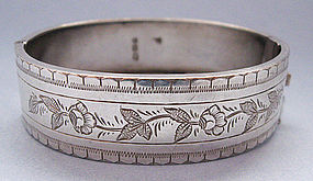 Victorian Sterling Engraved Hinged Bangle