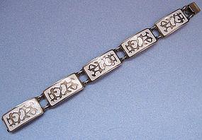 Sterling and White Enamel Bracelet