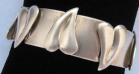 Rebajes Brushed Sterling Leaf Bracelet, c. 1960