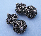 Norwegian Silver Wirework Cuff Links, c. 1950
