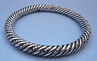 American Sterling Chased Bangle, c. 1890