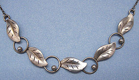 European Silver Leaf Necklace