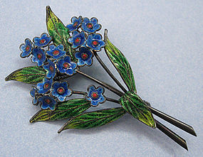 Italian Enamel and Filigree Silver Pin, c. 1940