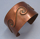 Copper Cuff with Wave Motif