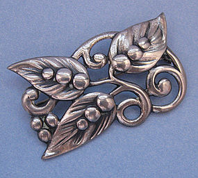 American Sterling Danish-Style Floral Pin, c. 1950