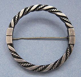 Georg Jensen Circle Pin, Rope Design