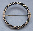 Georg Jensen Circle Pin, Rope Design, c. 1960