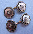 Art Deco Black Mother-of-Pearl Cuff Links