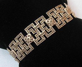 Sterling Marcasite Link Bracelet