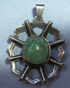Sterling and Turquoise Pendant, c. 1960