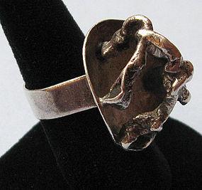 Sterling Handmade Ring, Organic Design, c. 1970